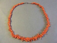 "VINTAGE RED CORAL SHORT BRANCH NECKLACE CHOKER 17""  (A)"