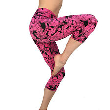 Womens Capri Leggings Workout Fitness Capris Yoga Pant Exercise Gym Wear MED 232