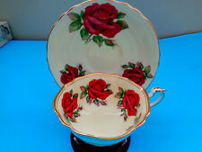 PARAGON RED CABBAGE ROSES TEA CUP AND SAUCER STUNNING