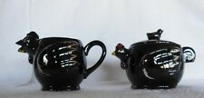 Vintage Rooster Sugar Bowl with Lid and Creamer Japan Redware