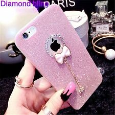 NEW Bow knot Glitter Sparkly Soft Gel Phone Cover Case For I Phone & Samsung UK