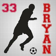 Soccer player boy name vinyl decal,Soccer silhouette number wall room sticker