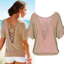 Hot Fashion Women Shirt Summer Lace Short Sleeve Blouse Loose Casual Tops Ladies
