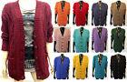 Women's Long Sleeve Button Top Chunky Aran Cable Knit Grandad Cardigan S M L XL