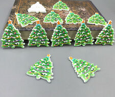 20pcs Christmas Tree shape Wooded Buttons Sewing Scrapbooking Decorative 39mm