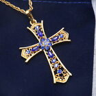 New Fashion Cross Gold Crystal Pendant Sweater Necklace Chain Jewelry Gifts #