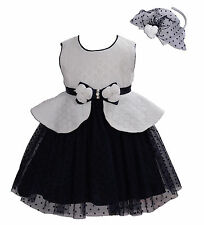 New Ivory and Dark Blue Flower Girl Party Bridesmaid Dress+Headband 12-18 Months