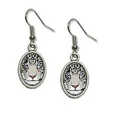 Snow Leopard - Big Cat - Novelty Dangling Drop Oval Charm Earrings