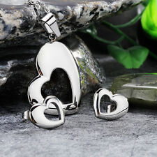 Female High Polished Stainless Steel Smooth Heart Pendant Necklace Earring Set