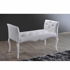 Breslin Contemporary White PU Leather Upholstered Tufted Bench Seat Furniture