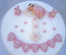 Edible cross & baby girl Personalised Christening  Baptism cake decoration