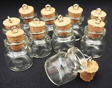 10 x Fillable Empty Glass Witch Charm Bottles With Cork for Oils 20x18mm