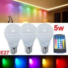 Colorfull E27 ES 5W RGB LED Globe Bulbs Lamp Light Spotlight + IR Remote Control
