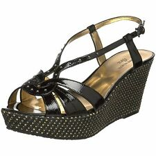 ANNE KLEIN KATHMANDU BLACK WOMEN'S WEDGE SANDAL SHOES 9.5 New / Display