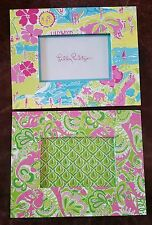 """Lot 2 Lilly Pulitzer Picture Frames holds 5.5"""" x 3.5"""" LillyWood & pink elephants"""