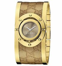New Gucci Women's Twirl Gold-Tone Guccissima Leather Bangle Watch YA112434
