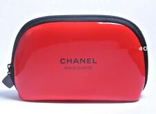 "CHANEL MAKEUP BAG COSMETIC CASE TRAVEL POUCH RED PATENT 5""X 3.5"" BRAND NEW RARE"