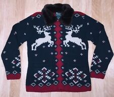 Ralph Lauren Womens Sweater Reindeer RL Ski Snow