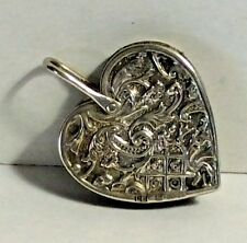L. Emanuel Sterling Silver Heart Shape Chatelaine Pin Cushion Emery Sewing #300