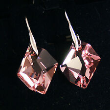 Rose Pink Diamond Cosmic Crystal 6680 Sterling 925 Silver Dangling Drop Earrings