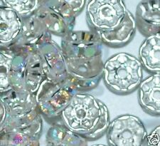 glass A+ gold / silver rhinestone rondelle spacer beads in various sizes, colors