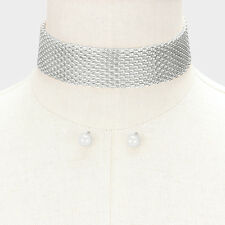 """Metal Choker Necklace 1"""" Wide Mesh Chain Link Clasp SILVER Statement Jewelry"""