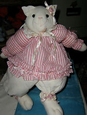 "VINT '94 HOUSE OF LLOYD ""FELICIA FELINE"" PUFFY WHITE CAT DRESSED IN PINK"