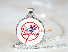 New York Yankees Baseball MBL Glass Cabochon Chain Pendant Necklace Jewelry NEW