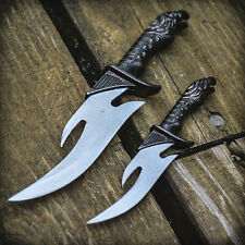 2pc Falcon Fixed Blade Knife Set Twin Dagger Hunting Cosplay Fantasy w/ Sheath