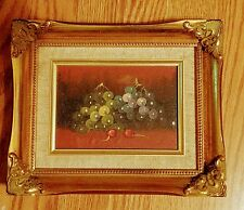 Antique style Still-life oil painting on wood, Grapes& Cherries