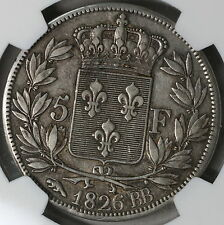1826-BB NGC XF 40 FRANCE Silver 5 francs Coin POP 1/1 (16111319C)