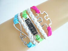 10pcs Infinity Love/Believe/Autism Puzzle Charms Suede Leather Braided Bracelet