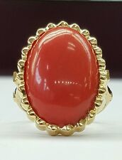 Vintage 19 Ct natural untreated cabochon coral 20×14 mm 18k solid gold ring