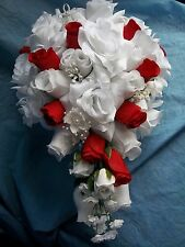 19 Piece silk Flower Bridal wedding bouquet Package In White and red Roses