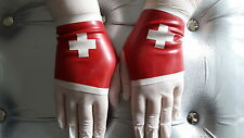 darkdesireslatex red rubber nurse short length gloves cuffs latex cute roleplay