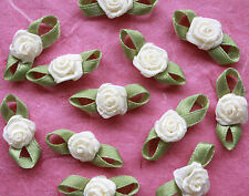 100! Satin Ribbon Roses With Leaves - Lovely Pale Cream Rose Embellishments!
