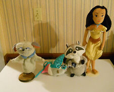 "Disney plush Princess Doll Pocahontas doll 20"" & Meeko,  Flit, &  Percy Lot of 4"