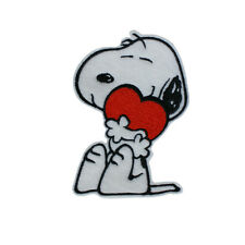 SNOOPY Hugging Love Heart Embroidered Iron On Sew On Felt Patch