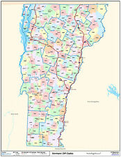 Vermont State Zipcode Laminated Wall Map
