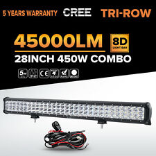 "Tri-Row 28""Inch 450W Led Work Light Bar Spot Flood Offroad Driving 4WD Truck 23"""