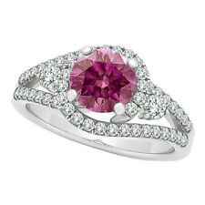 1.25 Ct Fancy Pink Diamond Solitaire Wedding Bridal Ring 14K White Gold VS2 Sale