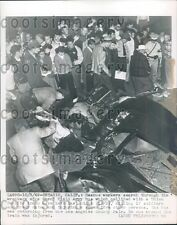1949 Rescue Workers Search Wreckage Bus & Train Crash Ontario CA Press Photo
