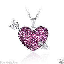 STERLING SILVER LAB RUBIES HEART & ARROW VALENTINE'S DAY NECKLACE! LOVE  HEARTS!