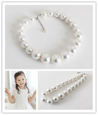 Girl Kids Toddlers White Faux Pearl Necklace Big Round Beads