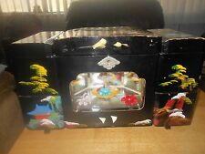 Vintage Large Black Lacquer Jewelry Box w/Dancing Ballerina & Key Japan