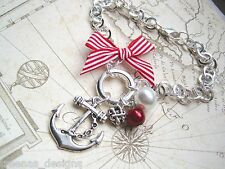 ANCHOR NAUTICAL Silver Plated Red Stripe Charm Bracelet Sailor Jerry Pearl knot