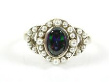 .50ct Mystic Topaz & Seed Pearl Victorian Art Deco Sterling Filigree Ring 104a