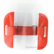 Reflective Red Arm Band Photo ID Badge Holder Vertical w/ Elastic Red Strap