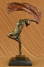 Art Deco Flag Dancer Bronze Sculpture Marble Statue Figurine Hot Cast Home Decor