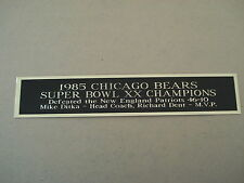 Chicago Bears Super Bowl 20 Nameplate For A Football Helmet Display Case 1.5 X 8